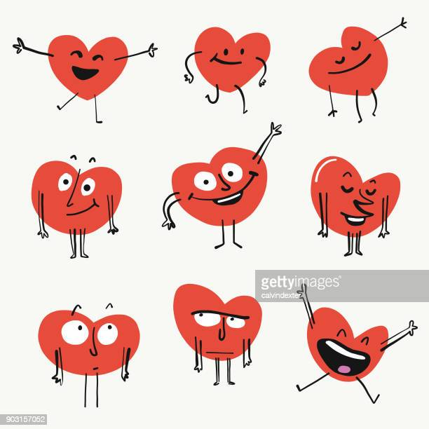 stockillustraties, clipart, cartoons en iconen met hart vorm emoticons - love emotion
