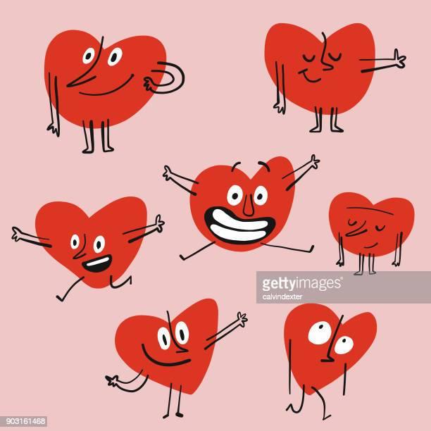 heart shape emoticons - awe stock illustrations