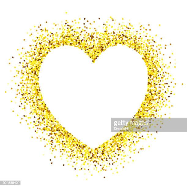 ilustraciones, imágenes clip art, dibujos animados e iconos de stock de espacio vacío de forma de corazón en corazón oro brillo forma sobre fondo blanco - luz brillante
