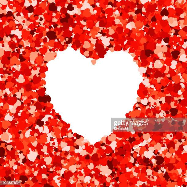 heart shape empty space on red heart shape confetti on white background. - i love you stock illustrations