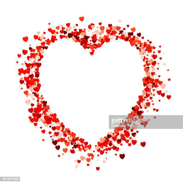 heart shape empty space on red heart shape confetti on white background. - valentine card stock illustrations