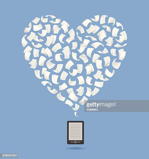 Heart shape. Flying sheet over e-reader
