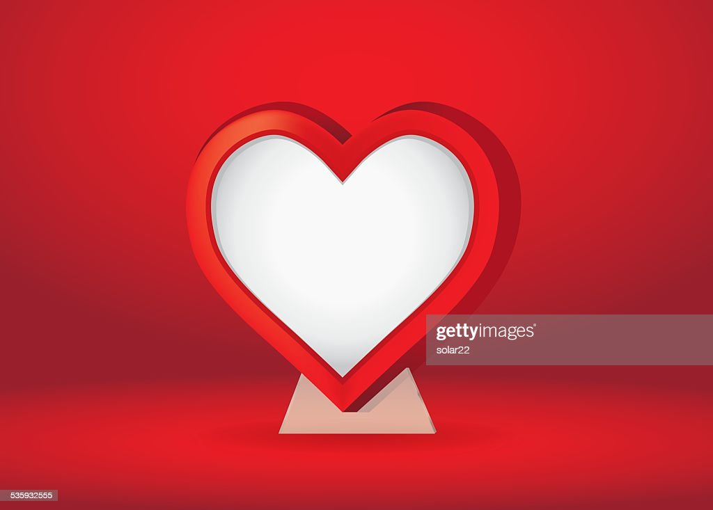 Heart Shape Frame Over Red : Vector Art
