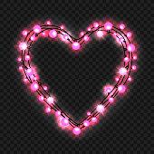 Heart shape garland on transparent background