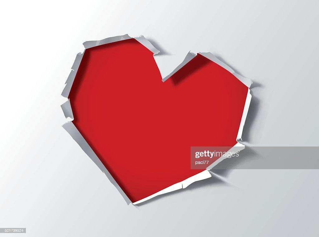 Heart shape hole trough paper : stock illustration