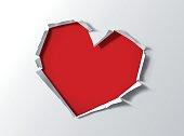 Heart shape hole trough paper