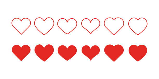 heart shape icons - vector stock illustrations