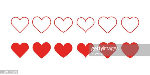 heart shape icons - heart symbol stock illustrations