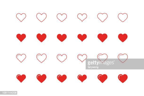 illustrazioni stock, clip art, cartoni animati e icone di tendenza di heart shape icons - cuore