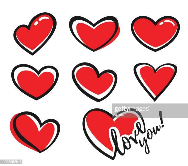 ilustrações, clipart, desenhos animados e ícones de ícones da forma cardíaca - heart