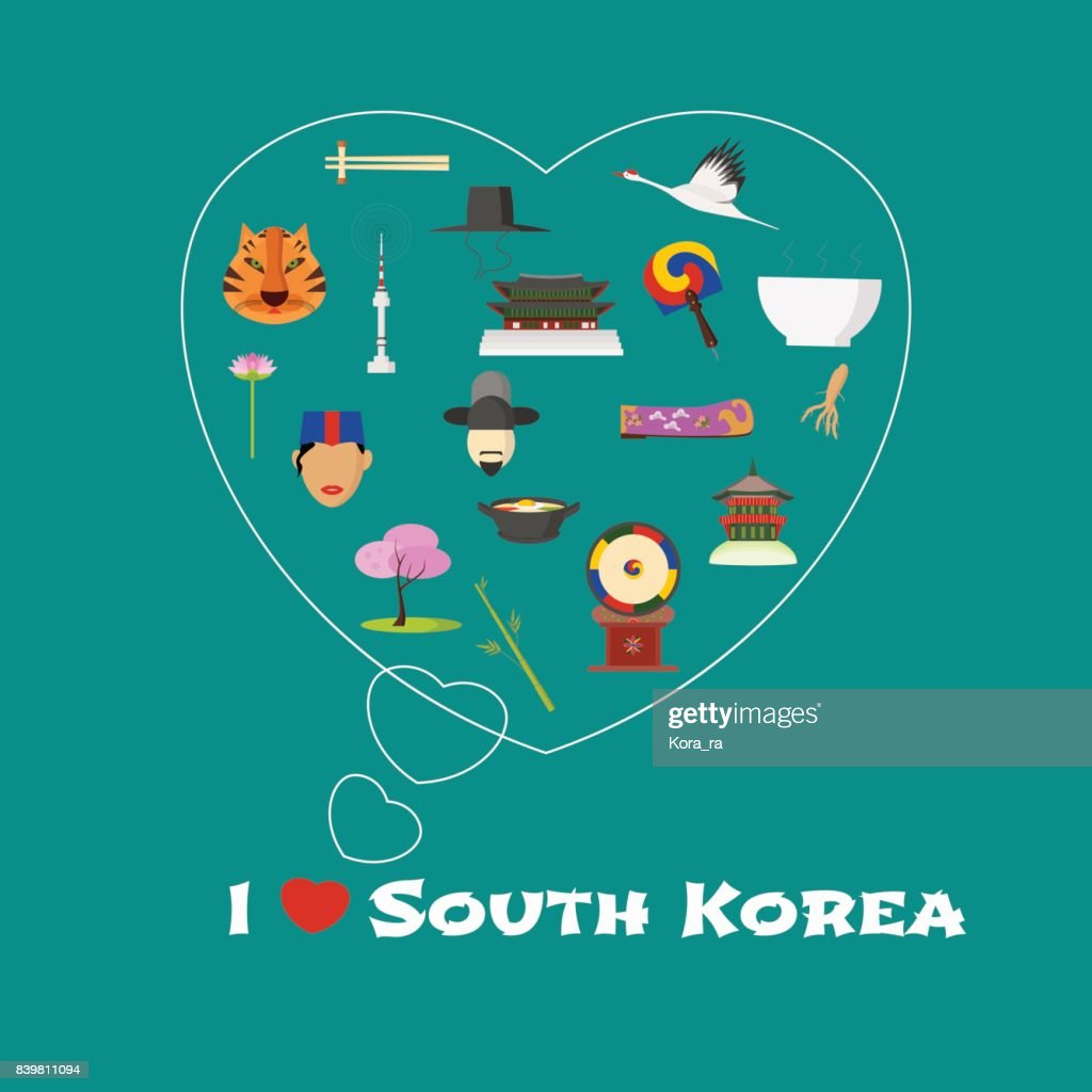 Heart shape illustration with I love South Korea quote