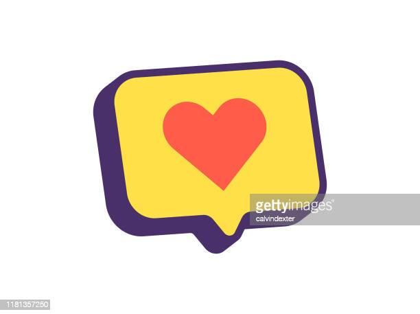 ilustrações, clipart, desenhos animados e ícones de forma do coração na bolha do discurso 3d - amizade