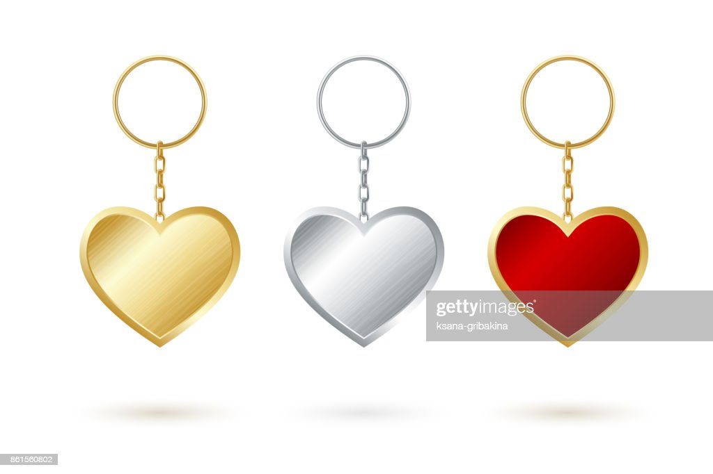 Heart shape keychain collection. Golden,silver and red keyholders.