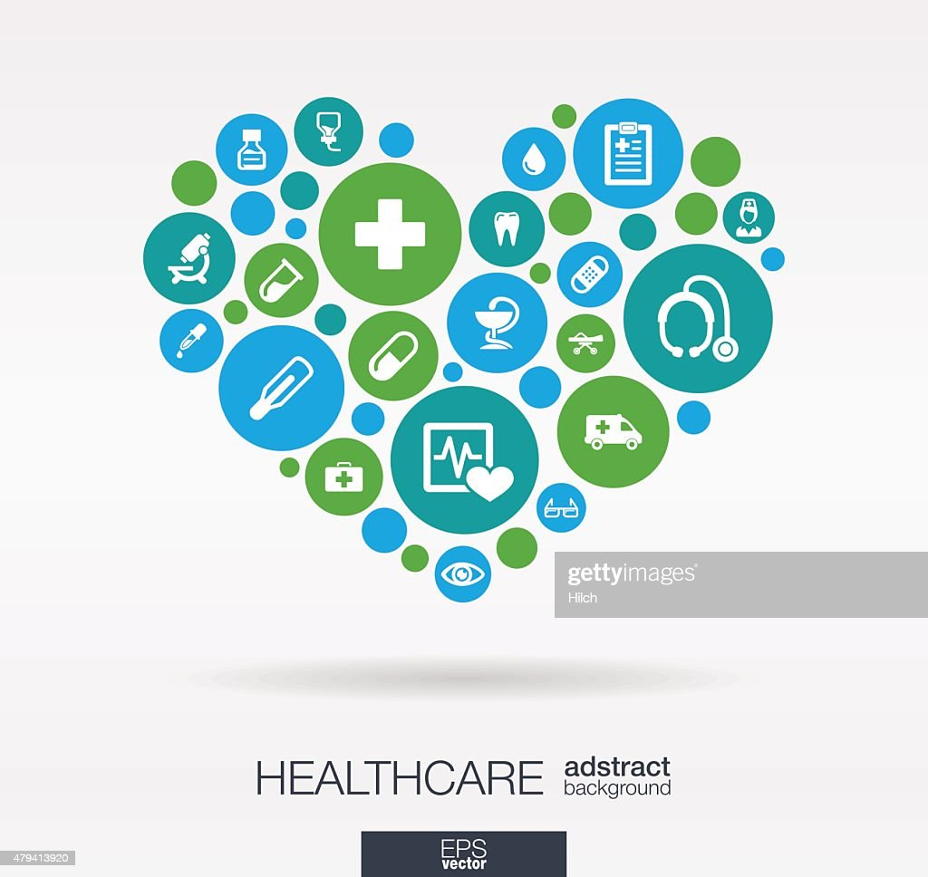 Heart shape medical illustration: connected color circles, integrated flat icons
