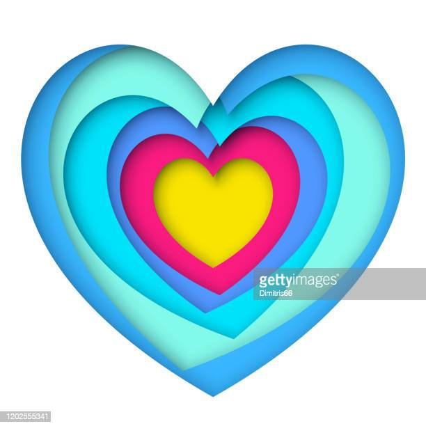 ilustrações, clipart, desenhos animados e ícones de arte de papel multicamadas em forma cardíaca - data especial