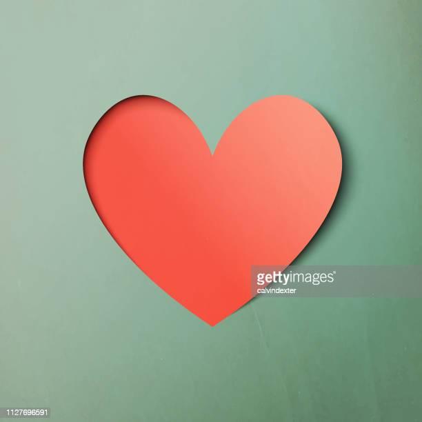 herz form papier kunst valentines tag design - handgemacht stock-grafiken, -clipart, -cartoons und -symbole
