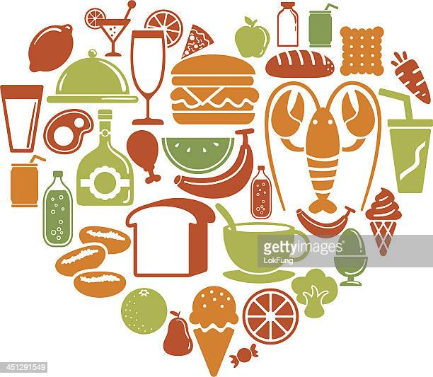 Heart shape pattern with food icon