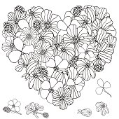 Heart shape pattern with spring flowers