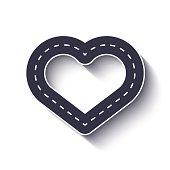 Heart shape road icon