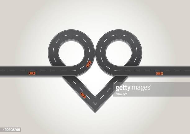heart shape road - overpass road stock illustrations