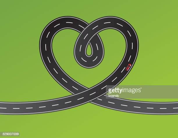 illustrazioni stock, clip art, cartoni animati e icone di tendenza di strada a forma di cuore - indicare la via