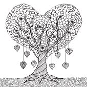 Heart shape tree coloring book
