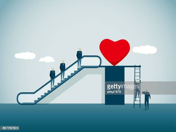 heart shape - escalator stock illustrations, clip art, cartoons, & icons