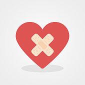 Heart shape with adhesive bandage. Flat design, vector illustration