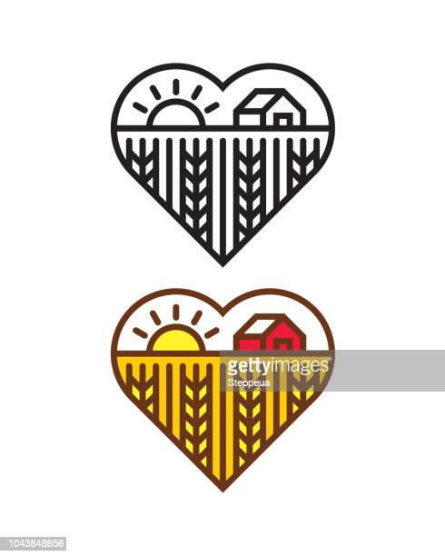 Heart shape with Farm landscape