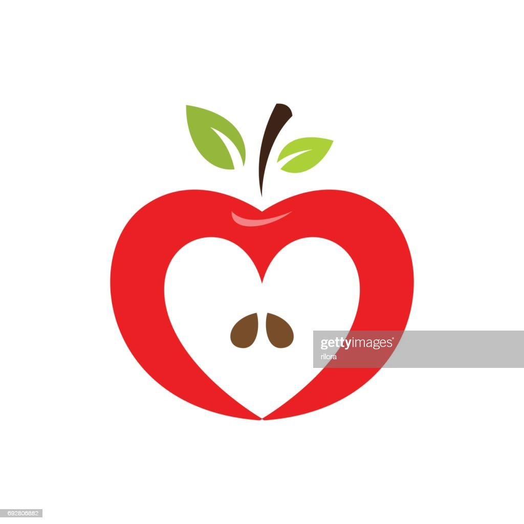 Heart shaped apple vector icon, label, emblem design