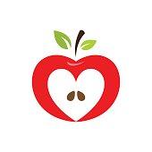 Heart shaped apple vector icon, label, emblem design