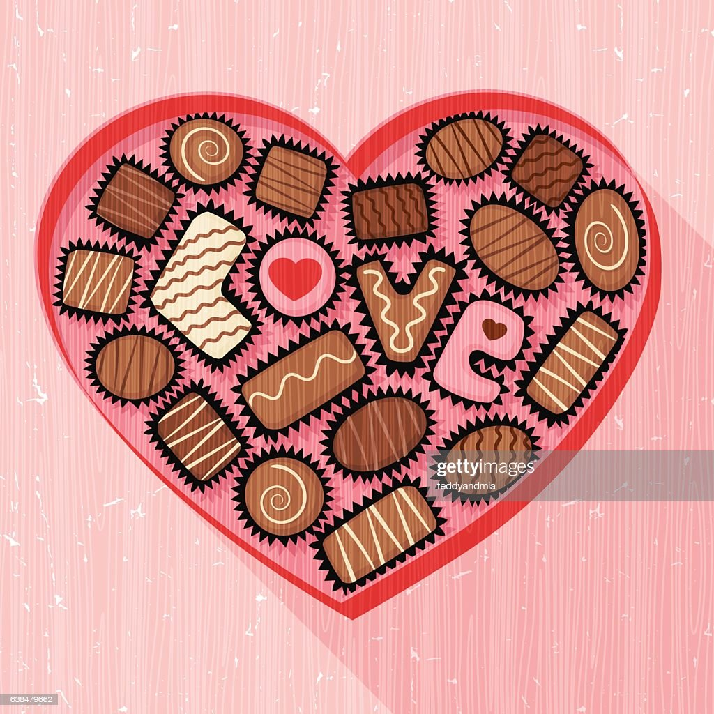 heart shaped box of fancy chocolates for valentine's day