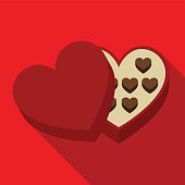 Heart shaped box with sweet flat icon illustration