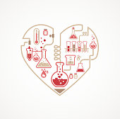 Heart shaped collection of chemistry themed icons