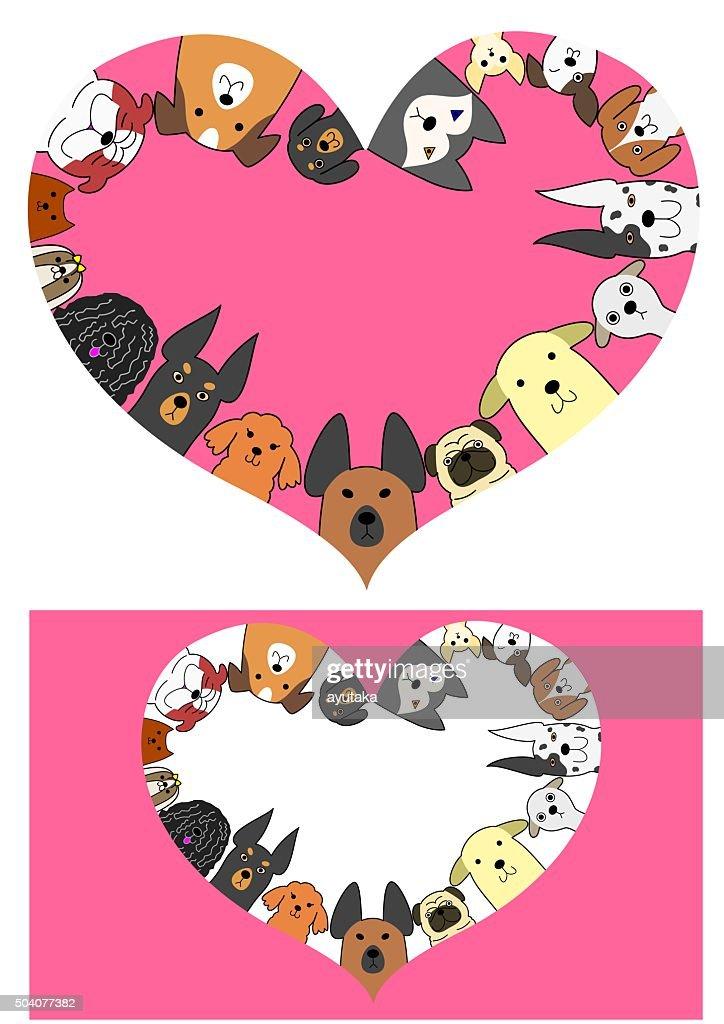 heart shaped dogs border set