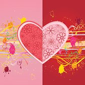 Heart shaped flower heads on colorful splatered background