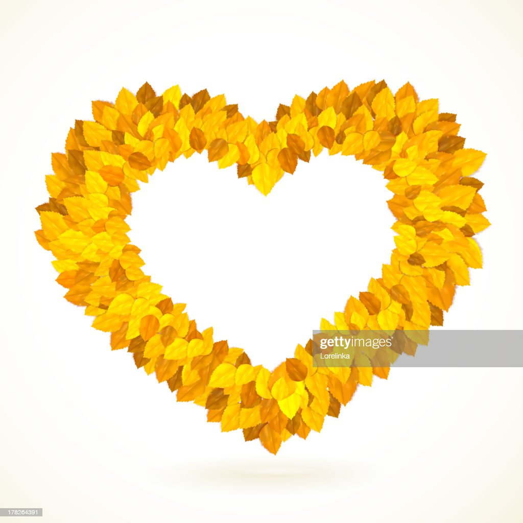 Heart Shaped Frame With Autumn Leaves Vector Illustration Vector Art ...