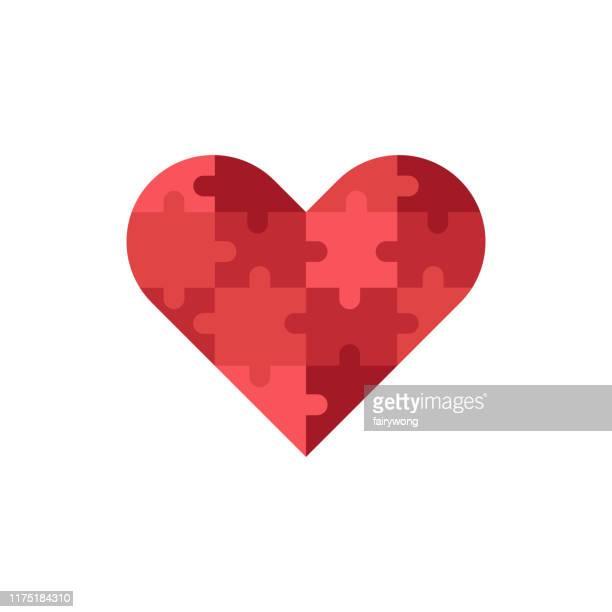 illustrazioni stock, clip art, cartoni animati e icone di tendenza di icona del puzzle a forma di cuore - puzzle
