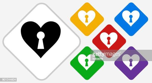 ilustraciones, imágenes clip art, dibujos animados e iconos de stock de corazón en forma de ojo de la cerradura color diamante vector icono - ojo de cerradura
