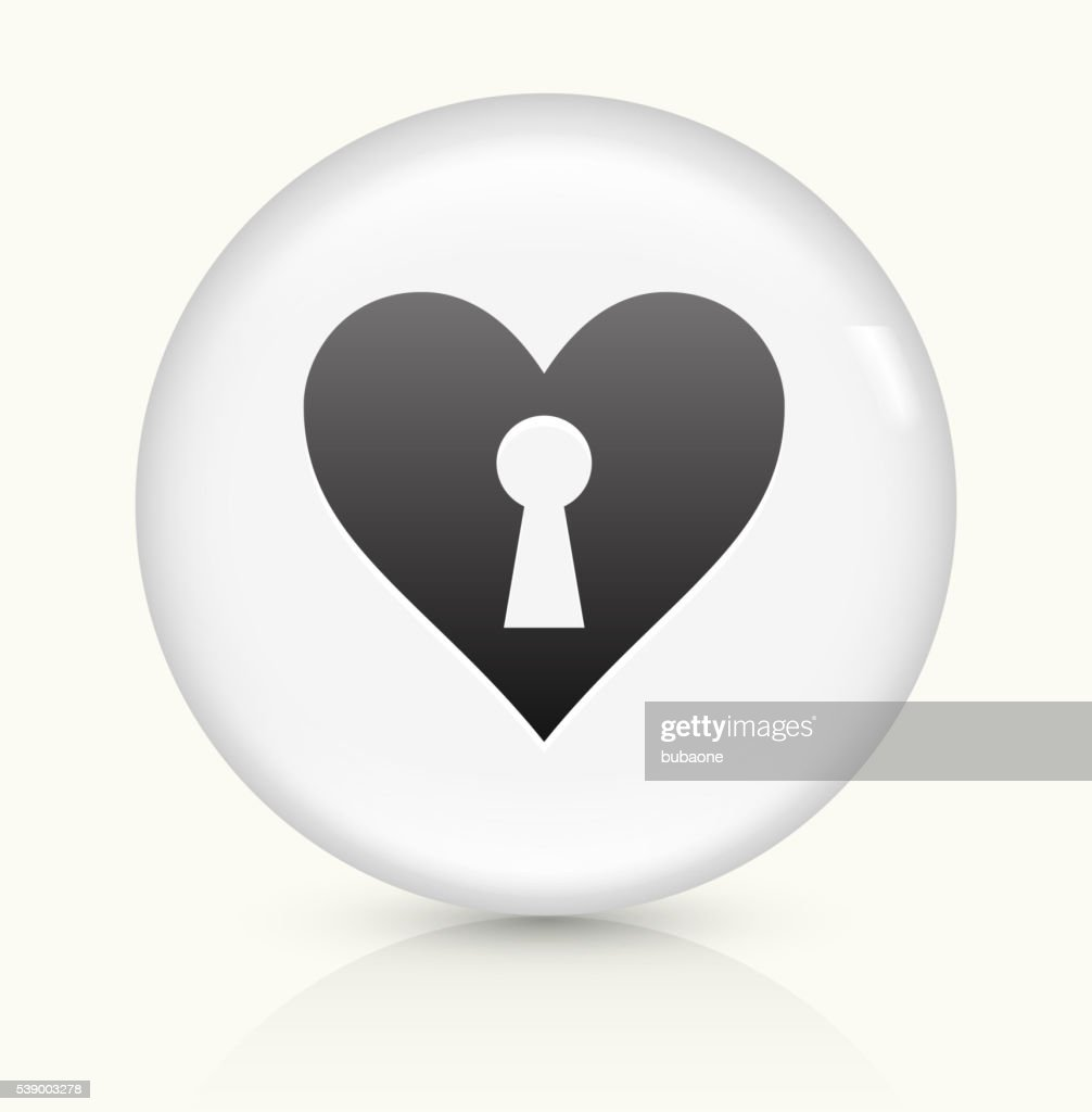 Heart Shaped Keyhole Icon On White Round Vector Button stock
