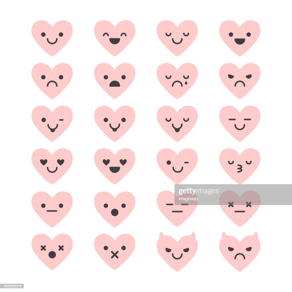 Heart shaped set of Emoji.