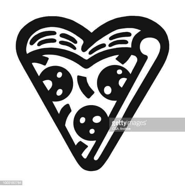 ilustrações de stock, clip art, desenhos animados e ícones de heart shaped slice of pizza - pizzaria