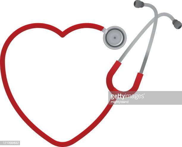 heart shaped stethoscope - stethoscope stock illustrations
