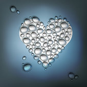 Heart shaped water drops. Abstract Valentines day background, ve