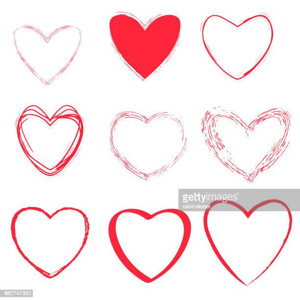 heart shapes collection - heart shape stock illustrations