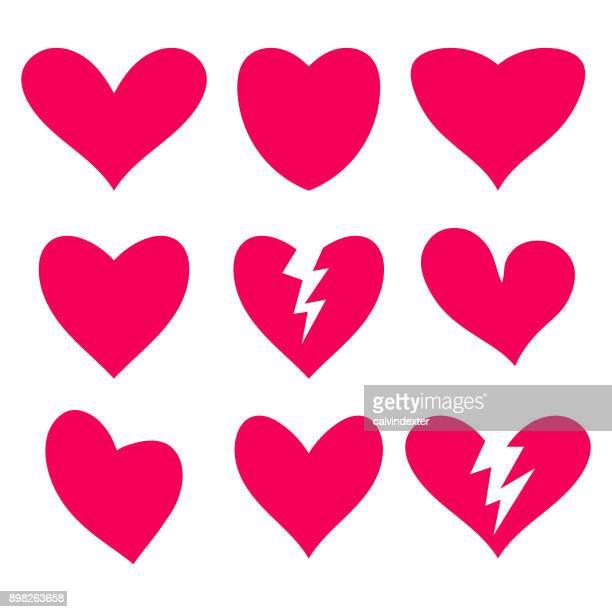 heart shapes collection - broken heart stock illustrations