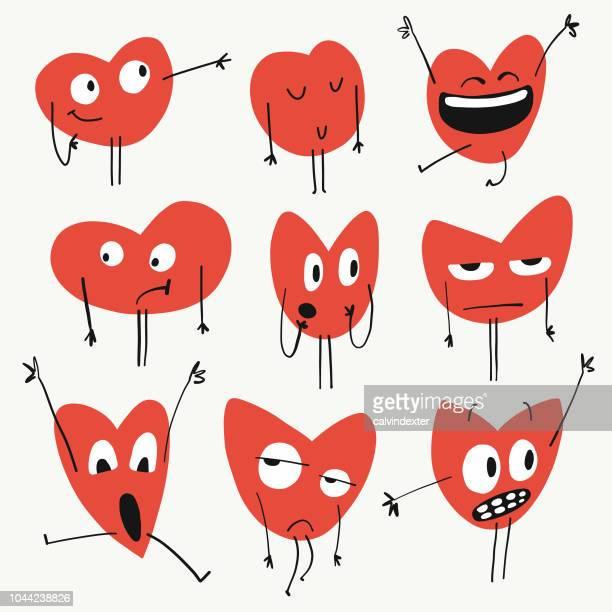 heart shapes emoticons - friendship stock illustrations
