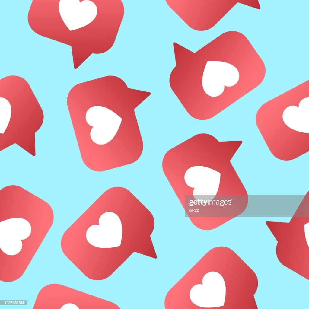 Heart shapet likes seamless pattern. Followers, subscribers for sociel nets