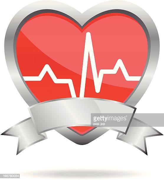 stockillustraties, clipart, cartoons en iconen met heart shield - oscilloscoop