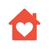 Heart sign in house icon, ed icon, love home symbol